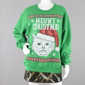 Ugly Christmas Sweatshirt Meowy Grumpy Face Cat